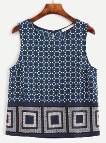 Navy Keyhole Back Geometric Print Sleeveless Top