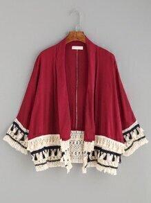 Burgundy Contrast Tassel Trim Kimono