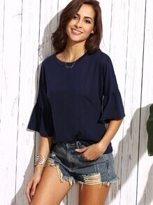 Navy Bell Sleeve T-shirt