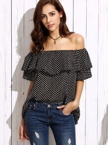 Black Off The Shoulder Polka Dot Print Ruffle Blouse