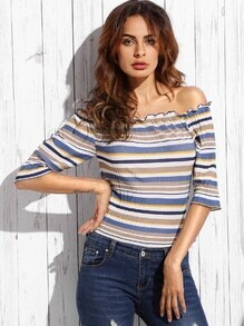 Multicolor Striped Off The Shoulder Folds Blouse