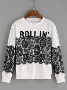 White Letters Print Lace Splicing Sweatshirt