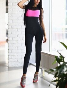 Black Color Block Cut Out Back Jumpsuit