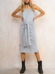 Light Grey Ribbed V Neck Side Slit Dress With Self Tie