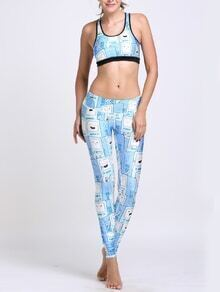Blue Cartoon Print Sports Bra With Leggings