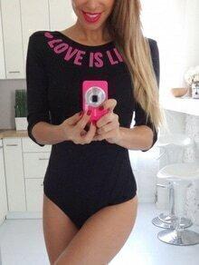 Black Letters Print Half Sleeve Bodysuit