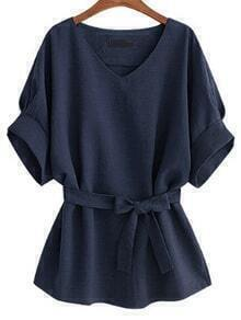 Navy V Neck Self Tie Blouse