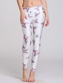 White Butterfly Print Wide Waistband Slim Leggings