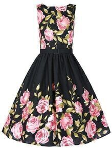 Black Belted Rose Print Fit and Flare Dress
