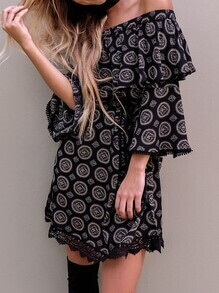 Black Circle Print Crochet Trim Off The Shoulder Dress