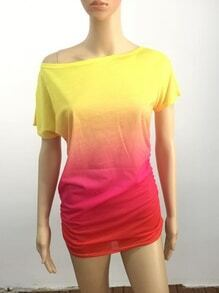 Multicolor Ombre Asymmetric Shoulder T-shirt