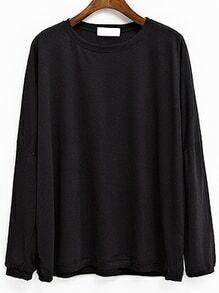 Black Drop Shoulder Dolman Sleeve T-shirt