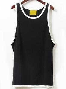 Black Contrast Trim Letter Print Drop Armhole Tank Top