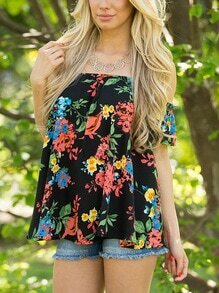 Black Flower Print Off The Shoulder Top