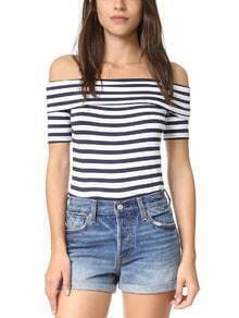 Navy White Striped Fold Over Off The Shoulder Top