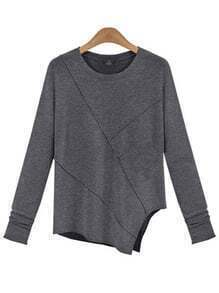 Heather Grey Asymmetric Knit Pullover Top
