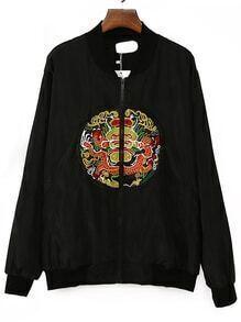 Black Dragon Embroidered Bomber Jacket