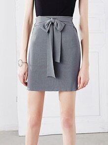Grey Double Way Self Tie Knit Pencil Skirt