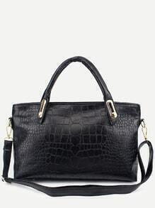 Black Crocodile Embossed 3PCS Bag Set
