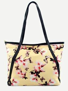 Yellow Flower and Butterfly Print Tote Bag