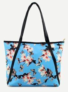 Blue Flower and Butterfly Print Tote Bag