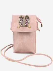 Pink Metal Rabbit Ear Embellished Crossbody Phone Case