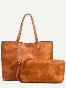Camel Snap Button Top Tote Bag With Crossbody Bag