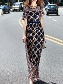 Navy Sheer Gauze Flowers Embroidered Maxi Dress