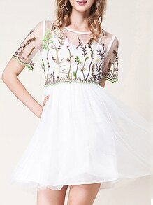 White Gauze Flowers Embroidered A-Line Dress
