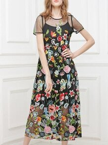 Black Gauze Flowers Embroidered Dress