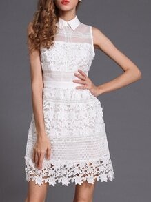 White Lapel Crochet Hollow Out Dress