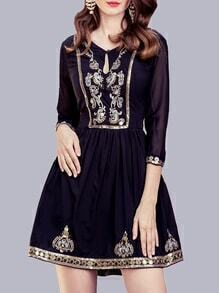 Navy Hollow Embroidered Beading Dress