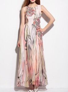 Multicolor Applique Pouf Print Maxi Dress
