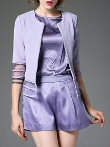 Purple sheer Mesh Insert Blazer And Top With Shorts