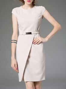 Nude Belted Split Sheath Dress