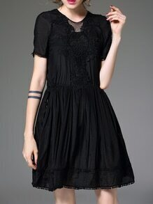 Black Embroidered Pleated A-Line Dress