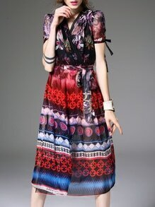 Multicolor V Neck Tie-Waist Print Dress