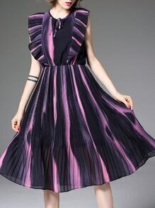 Black Contrast Pink Ruffle Pleated A-Line Dress