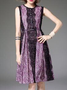 Purple Crew Neck Lace A-Line Dress