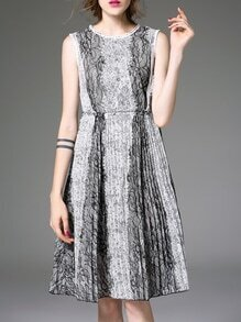 Grey Crew Neck Lace A-Line Dress