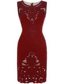 Burgundy Hollow Embroidered Sheath Dress