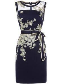 Navy Sheer Embroidered Tie-Waist Sheath Dress
