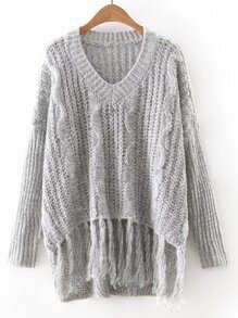 Grey V Neck Tassel Knitwear
