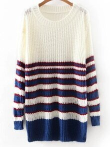 White Round Neck Stripe Long Knitwear