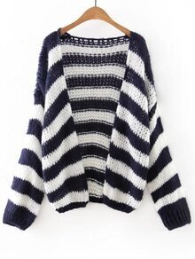 Navy And White Stripe Slim Cardigan