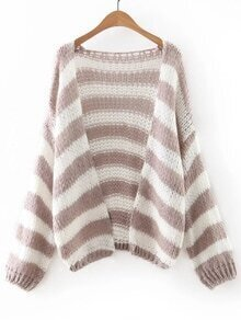Coffee And White Stripe Slim Cardigan