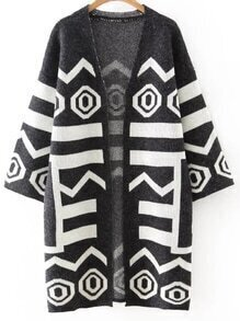 Black Printed Long Cardigan