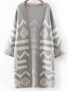 Grey Printed Long Cardigan