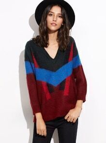Multicolor V Neck Elastic Cuff Sweater