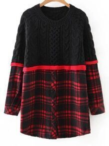Color Block Plaid Button Front Long Sweater
